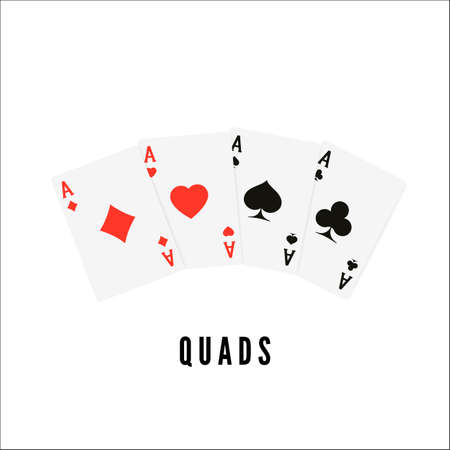 Ace. Playing card four of a kind or quads. Poker or blackjack winner cards. Vector illustration