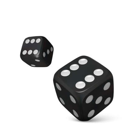 Roll black dice. Render realistic dices. Casino and betting background. Vector illustration