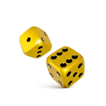 Golden 3d dice. Play casino tossing craps template for banner. Vector illustration isolated on white background Illustration