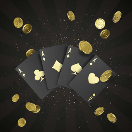 Four black poker cards with gold label and falling golden coin on background. Quads or four of a kind by ace. Casino banner or poster in royal style. Vector illustration