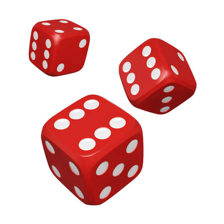 3d Dice. Realistic red craps. Casino and betting background. Vector illustration isolated on white