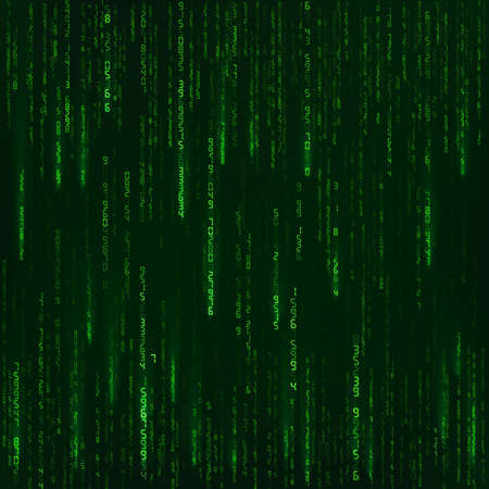 Background in a matrix style. Green random numbers. Sci fi or futuristic backdrop. Encoded data. Vector illustration