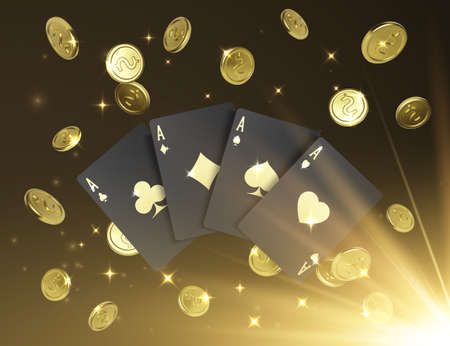 Quads or four of a kind by ace. Four black poker cards with gold label and falling golden coin on background. Casino banner or poster in royal style. Vector illustration Illustration