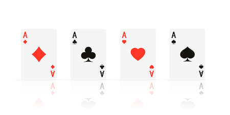 Quads. Ace design cazino game element with transparent reflection. Poker or blackjack realistic card. Vector illustration