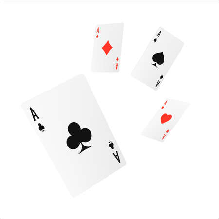 Flying playing card four of a kind or quads. Ace design cazino game element. Poker or blackjack realistic cards. Vector illustration