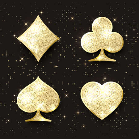 Diamond poker cards suit. Four casino playing card golden glitter symbols. Design element. Vector illustration