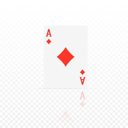 Tambourine ace. Ace design cazino game element with transparent reflection. Poker or blackjack realistic card. Vector illustration Illustration