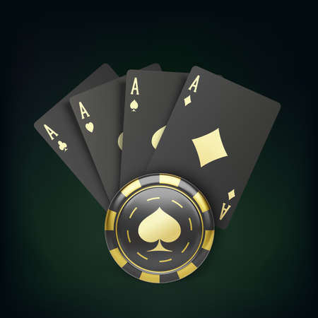 Four black poker cards with gold suit and casino chip. Quads and gambling chip. Casino banner or poster in royal style. Vector illustration