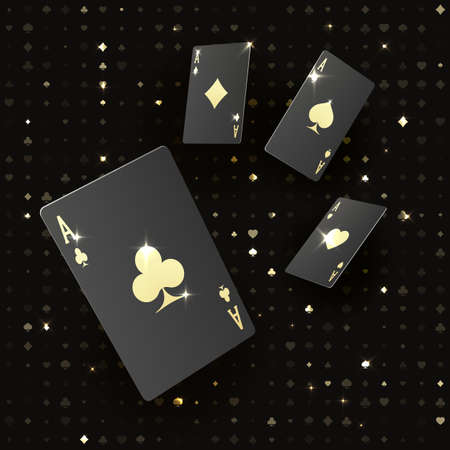 Four black poker cards with gold suit. Quads or four of a kind by ace. Casino banner or poster in royal style. Vector illustration Illustration