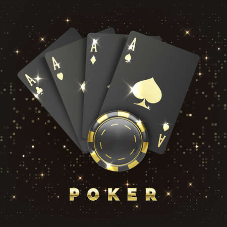 Four black poker cards with gold suit and casino chip. Quads or four of a kind by ace and gambling chip. Casino banner or poster in royal style. Vector illustration Illustration