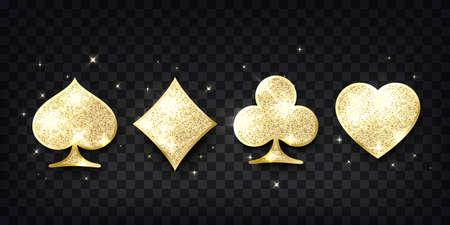 Poker cards suit. Four casino playing card golden glitter symbols. Design element. Vector illustration Illustration