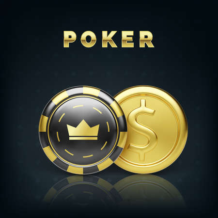 Golden coin and casino chip. Realistic gambling chip gold coin. Game money. Vector illustration Illustration