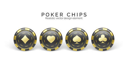 Black and golden casino chips isolated on white. Gambling chips with palying card suit symbol. Vector illustration
