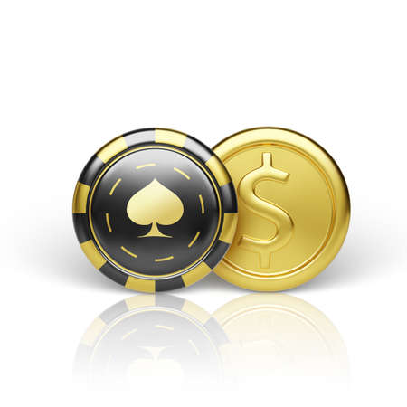 Golden coin and casino chip. Realistic gambling chip gold coin. Game money. Vector illustration isolated on white background