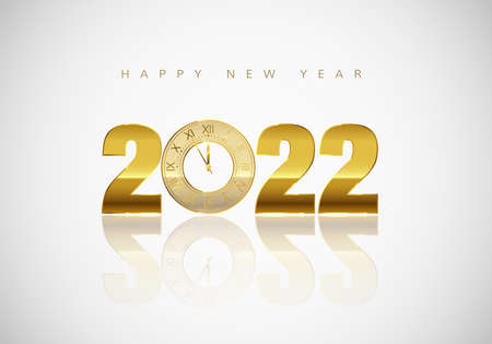 New Year Greeting Card. Golden Clock instead of zero in 2022. Holiday Decoration Element for Banner or Invitation. Holiday Midnight Countdown. Vector illustration