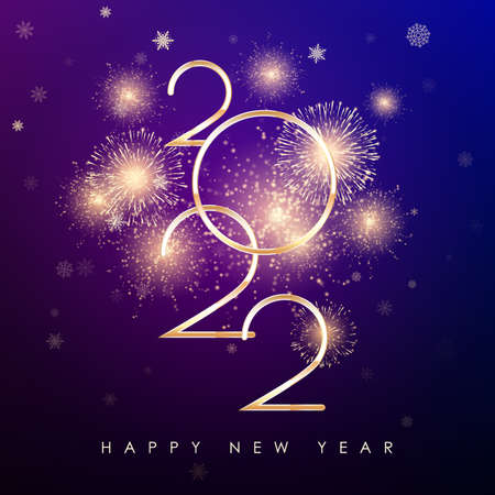 Happy New Year 2022. New Years banner with golden numbers firework and color background. Greeting card text design for banner or poster. Vector illustration