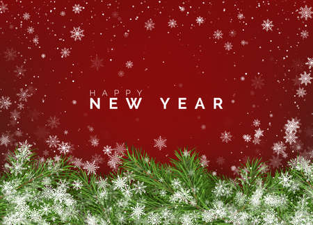 Merry Christmas and Happy New Year Greeting Card. Christmas tree branches on red background with white falling snowflakes. Holiday decoration elements. Vector illustration