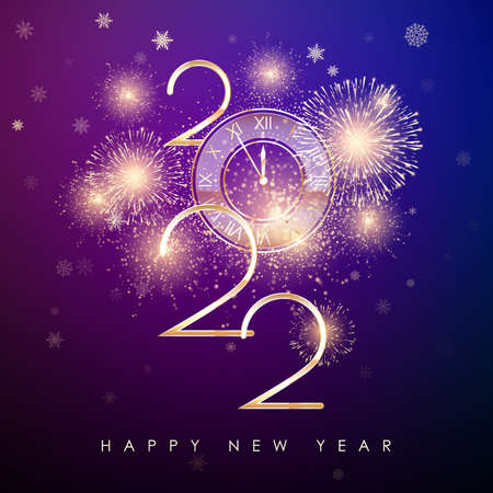 Happy New Year 2022. New Years banner with golden numbers and firework. Greeting card text design. Vector illustration