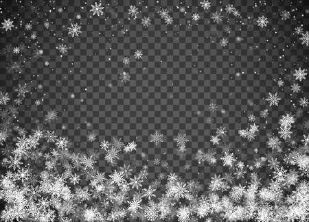 Snowfall. Christmas snow. Falling snowflakes on dark transparent background. Xmas holiday background. Design decoration element. Vector illustration