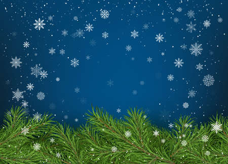Merry Christmas and Happy New Year Greeting Card. Christmas tree branches on blue background with white falling snowflakes. Holiday decoration elements. Vector illustration Illustration