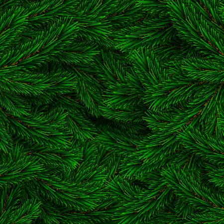 Fir branch backdrop design. Christmas decoration element. Green colorful pine pattern. New Year tree branches background. Vector illustration