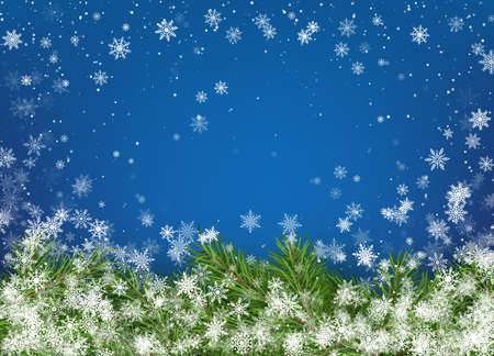 Christmas tree branches on blue background with white falling snowflakes. Merry Christmas and Happy New Year Greeting Card. Holiday decoration elements. Vector illustration Illustration