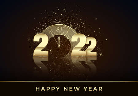 Golden Clock instead of zero in 2022. Happy New Year Greeting Card. Holiday midnight countdown. Christmas Decoration Element for Banner or Invitation. Vector illustration