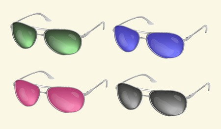 corrective lenses: Set vector realistic sunglasses, eye glasses collection, isolated on a light background