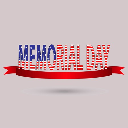Memorial Day with text in national flag colors. USA, may 30, vector illustration. stars. eps 10 Иллюстрация