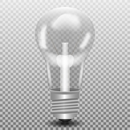 tungsten: Big realistic transparent glass lightbulb with shadow isolated on a plaid background, stock vector illustration
