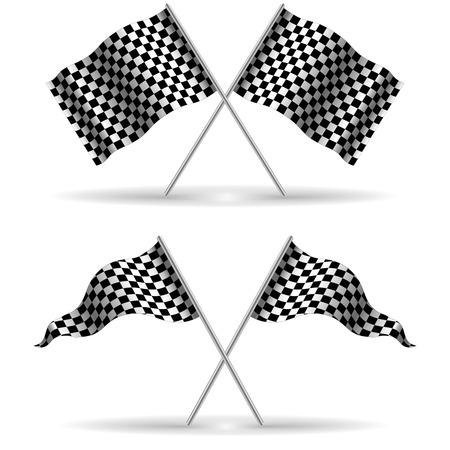 rallying: Banderas Checker cruzados aislados sobre un fondo blanco, final, inicio, ilustraci�n stock vectorial