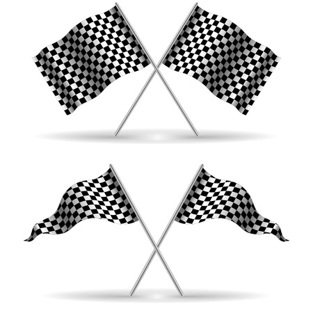 Checker Flags Crossed Isolated on a White Background, finish, start, stock vector illustration 向量圖像
