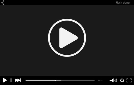 Black flat Video player bar template for your design. Trendy Minimal Flash interface in social style. Modern vector illustration for web site and app
