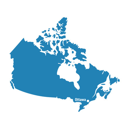 north american: Blank Blue similar Canada map isolated on white background. North American country. Vector template for website, design, cover, infographics. Graph illustration.