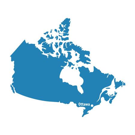 Carte de Canada similaire bleu blanc isolé sur fond blanc. Pays nord-américain. Modèle vectoriel pour site Web, conception, couverture, infographie. Illustration graphique