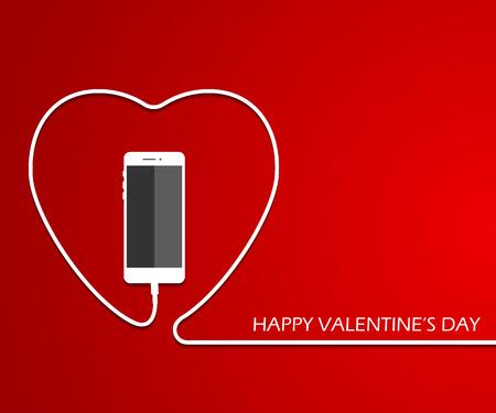 cable telefono: Corazón con teléfono, alambre. Tarjeta de San Valentín . Ilustración vectorial amo flayer de teléfono inteligente. Plantilla de cartel de día de las madres.