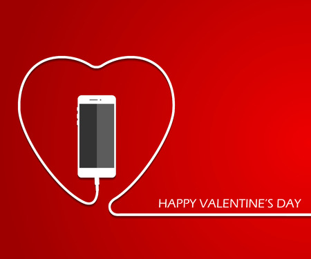 Heart with phone, wire. Valentines card. . Vector illustration. love smartphone flayer. Mothers day poster template. Illustration