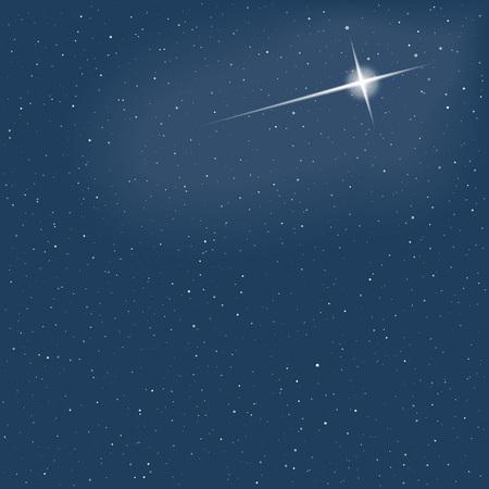 star sky: Christmas star on sky. Snowfall. . Vector illustration
