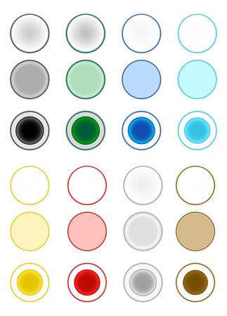 L'insieme di pulsanti di selezione rossi, blu e gialli / pulsanti di radio / pulsante radio Archivio Fotografico - 62663961