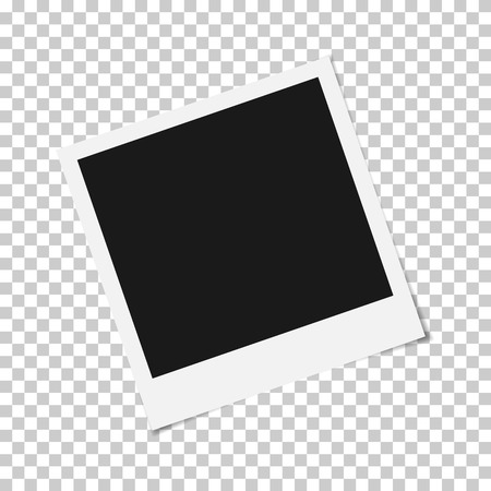 Blank photo frame with adhesive tape isolated on transparent background, shadow effect and empty space for your photograph and picture.  vector illustration