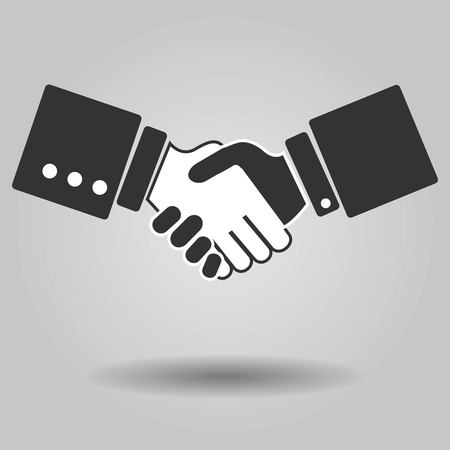 compromise: Gray Hand shake icon on background. Modern simple flat handshake sign. Business agree, internet concept. Trendy compromise vector symbol for website design, web button, mobile app. illustration Illustration