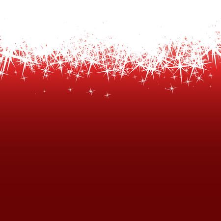 festively: Background with white stars flakes on red pattern. . Vector illustration Illustration