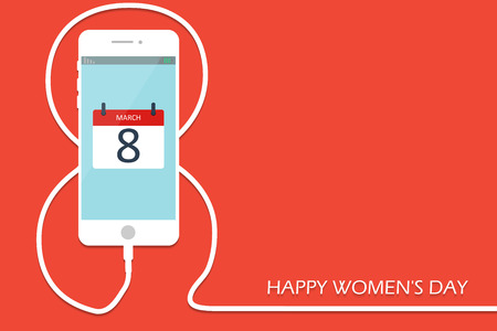 greeting cards International Women s Day: Phone with line eight wire. Outline 8 March smartphone charge, International Womens Day card. . Vector illustration. Holiday banner, flayer, menu, brochure