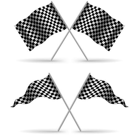 racing checkered flag crossed: Cross Finish Flags with shadow Isolated on a White Background. Start flag Formula 1. Stock vector illustration