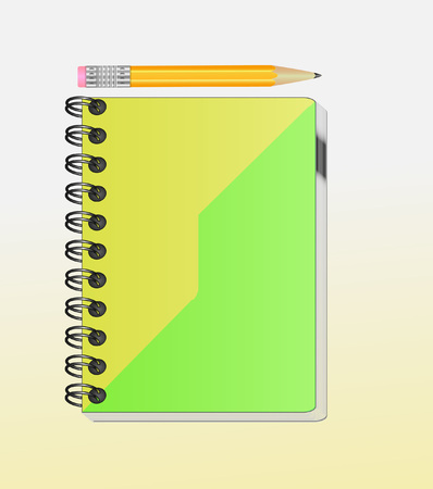 room for your text: A note book with lots of room for your text or image and a regular pencil