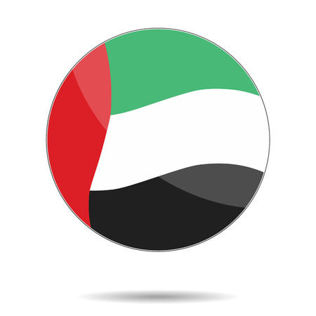 unite: A United Arab Emirates flag. Flat icon. . Vector illustration. UAE color rounded sticker with shadow.