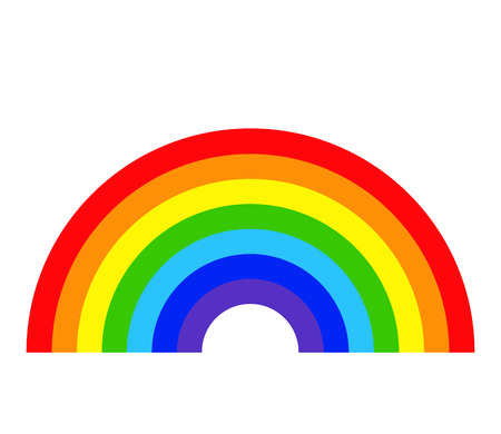 Modello colorato arcobaleno isolato su sfondo bianco. Icona di colore sfumato piatta. Icona di concetto di minoranza omosessuale. Immagine di concetto LGBT. Illustrazione vettoriale modificabile per il vostro disegno