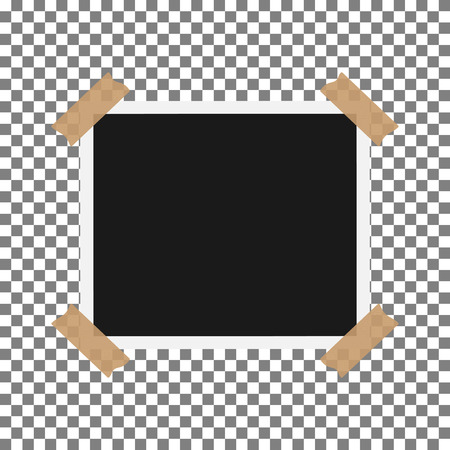 feature films: Blank photo frame with adhesive tape isolated on transparent background, shadow effect and empty space for your photograph and picture.  vector illustration