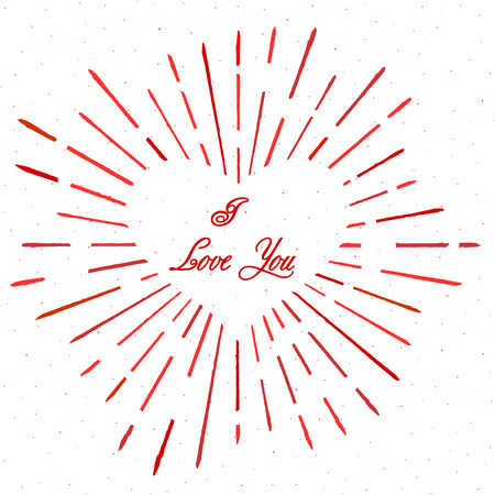the inscription: Vintage heart style with text and burst. Firework. I love You. . Vector illustration.