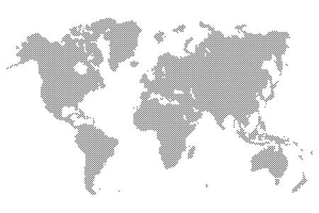 worldmap: Gray Dotted world map isolated on background. Blank point template for infographic, cover design. Flat illustration.